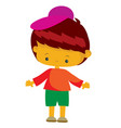 boy in green shorts and a pink beret in a flat vector image vector image