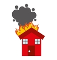 burning house isolated icon design vector image vector image