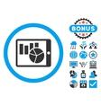 Charts on Pda Flat Icon with Bonus vector image