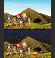 children camping in mountain day and night vector image vector image