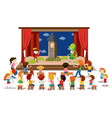 children play drama on stage vector image vector image