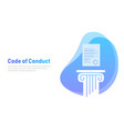 code of conduct paper on pillar concept of vector image vector image