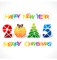 creative new year 2015 and merry christmas design vector image