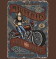 custom motorcycle service vintage poster vector image vector image