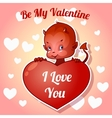 Cute little devil for Valentines Day vector image vector image