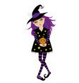 cute young witch with violet hair dressed in vector image