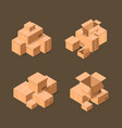 Delivery packaging boxes isometric icons set