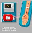 donate blood donor service medical and healthcare vector image vector image