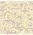 Doodle birdcages seamless pattern background vector image