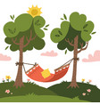 empty red summer hammock with trees and vector image