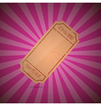 Empty Ticket on Retro Pink Background vector image vector image