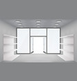 empty trade shelves store interior open doors 3d vector image vector image