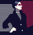 fashion and stylish woman in style pop art vector image vector image