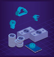 finacial transaction isometric set icons vector image