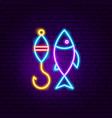 fishing neon sign vector image
