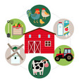 flat farming round concept vector image vector image