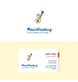 flat love guitar logo and visiting card template vector image vector image