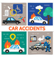 flat road accident square composition vector image vector image