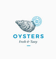 fresh and tasty oysters abstract sign vector image vector image