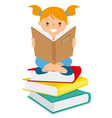 girl reading over a batch of books vector image vector image