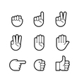 hand gestures line icons set vector image