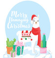 happy holidays greeting card with cute white vector image vector image