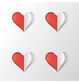 hearts on the light grey background paper cutout vector image vector image