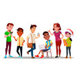 international character adolescent set vector image