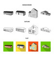 isolated object of facade and housing logo set of vector image