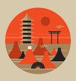 japanese landscape travel poster beautiful pagoda vector image