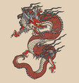 japanese red dragon tattoo vector image
