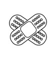 line aid band adhesive in shape of cross vector image vector image