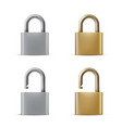 locked and opened padlocks realistic vector image