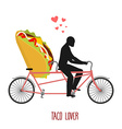 Lover taco Mexican food on bicycle Lovers of vector image vector image