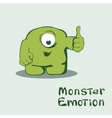 Monster emoticon with thumb up vector image vector image