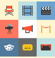 movie icons set flat design vector image