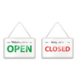 open and close door signs hanging shop signboards vector image vector image