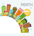 perth skyline with color buildings blue sky and vector image vector image