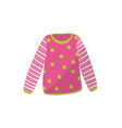 pink baby sweater in green polka-dot cute warm vector image