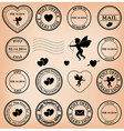 romantic post stamps for valentine day vector image vector image