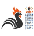 Rooster Icon With 2017 Year Bonus Symbols vector image