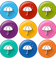 Round icons with a rainy weather vector image vector image
