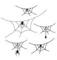 scary spider web set isolated white background vector image