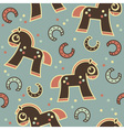 seamless pattern with cute horses vector image vector image