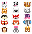 set of animals masks isolated vector image