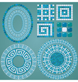 Set of Mosaic patterns - Blue ceramic oval and rou vector image