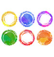 set of six circle wwtercolor backgrounds vector image vector image