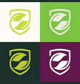 shield green leaf logo vector image vector image