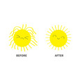 sleepy wake up sun shining icon set before after vector image