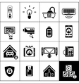 Smart House Icons Black vector image vector image